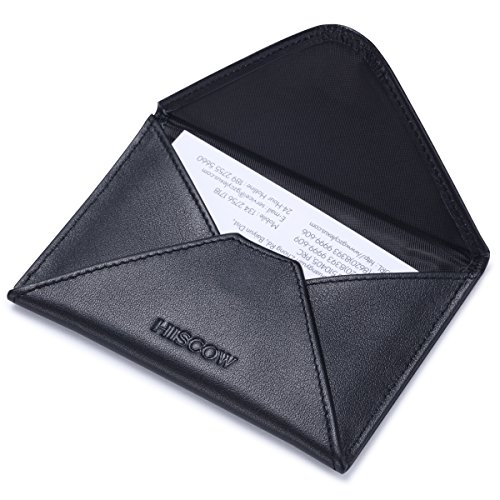 Case Holder Leather Business Card (HISCOW Envelope Business Card Case with Magnet Closure - Italian Calfskin (Black))
