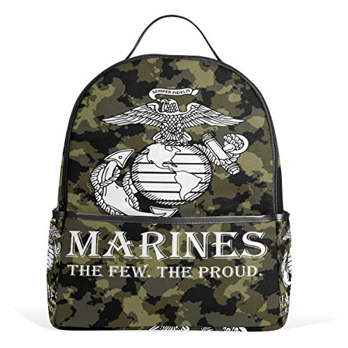 (Donnapink USMC Logo The Few. The Proud. US Marine Corps Camo Camoflage School Backpacks For Students Kids Teens Boys Girls Children Bookbag)