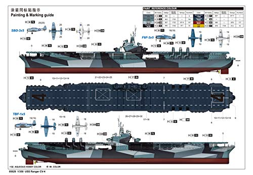 Trumpeter 005629/1//350/USS Ranger CV Jeu de 4