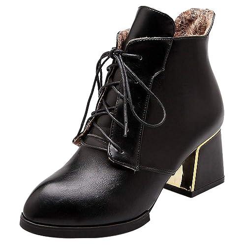 RAZAMAZA Mujer Tacón Ancho Botas de Tobillo Cordones: Amazon.es: Zapatos y complementos