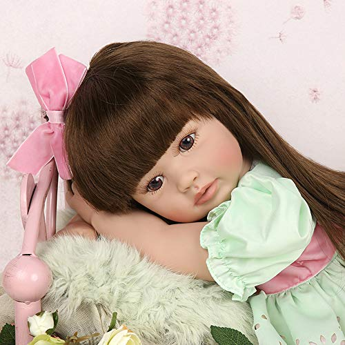 Realistic Reborn Baby Toddler Girl Doll Vinyl Green Princess Dress 24 Inches