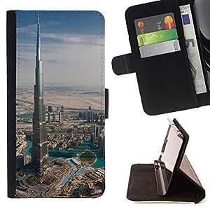 Momo Phone Case / Flip Funda de Cuero Case Cover - Arquitectura Burj Dubai el edificio más alto de Dubai - Samsung Galaxy Note 5 5th N9200