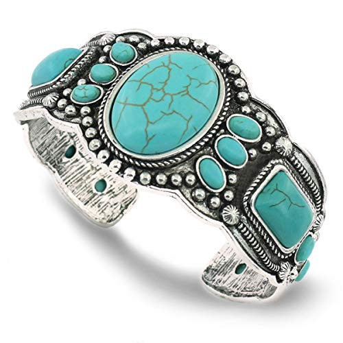 Jianxi Women's Antique Rgentium Plated Base Heart Compressed Turquoise Bracelet Cuff Bangle Fashion Jewelry (1323A Blue)