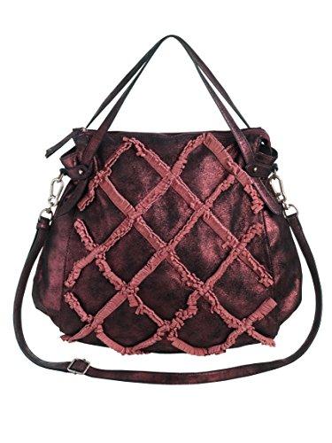 Suri Frey Tasche mit modischen Fransen Bordeaux/Metalic