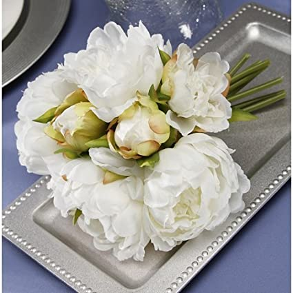 Amazon bridal white peony bouquet arts crafts sewing bridal white peony bouquet mightylinksfo