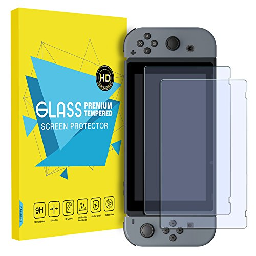 Protector Hori (MoKo Glass Screen Protector for Nintendo Switch(2 Pack), Tempered Glass HD Clear Anti-Fingerprint & Anti-Bubble Film for Nintendo Switch 2017)