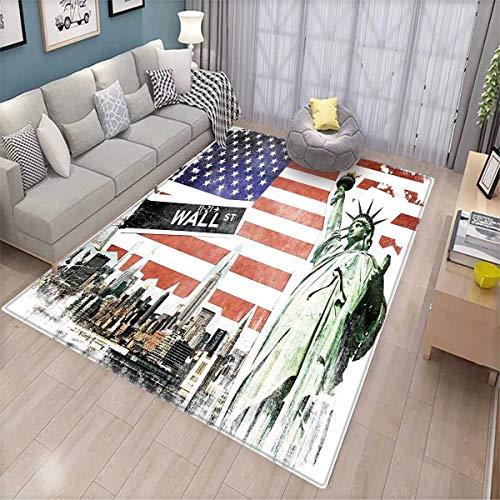 American Flag Room Home Bedroom Carpet Floor Mat NYC Collage
