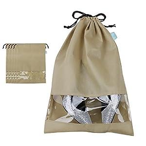 Non-woven Shoe Storage Bags for Seasonal Shoes Organizer in Closet/ Attic/ Shelf, Travel Shoes Storage Bags,Khaki, Pack of 5