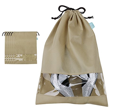 Shoe bag with Draw string Tie for Women/ Chilren Shoes, Dust proof shoe Storage bags for travel / carrying, Dark Grey, Pack of 5, L