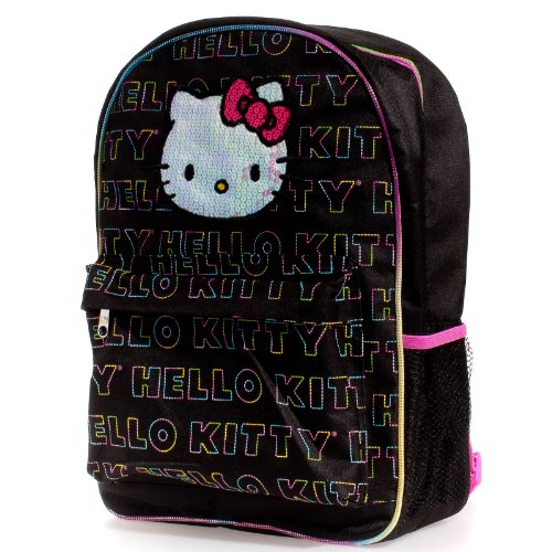 Hello Kitty Backpack-Black & White Checkerboard with Hello Kitty Sequin Face