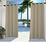 2 Pieces 108 Inch Taupe Color Gazebo Curtains Set Pair, Light Brown Solid Color Pattern Rugby Colors Outside, Indoor Pergola Drapes Porch Deck Cabana Patio Screen Entrance