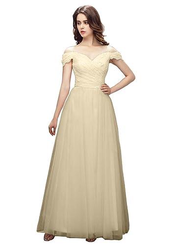 Debbie's Bridal Spaghetti Strap Off Shoulder A Line Long Prom Dress