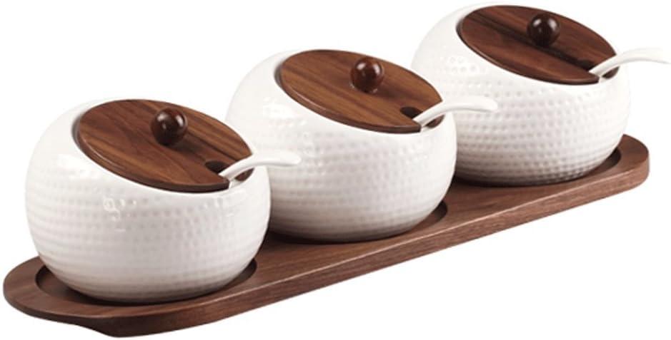HXF- Frasco de madera de nogal negro para condimentos de cocina simple esférica caja de condimentos de cerámica ahorra espacio: Amazon.es: Hogar