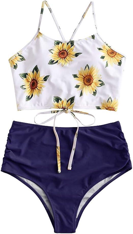 ZAFUL Damen Tankini-Set Gepolsterte Bikini Set mit Blattdruck Schn/ür Tankini Hohe Taille Badeanzug Bikinis