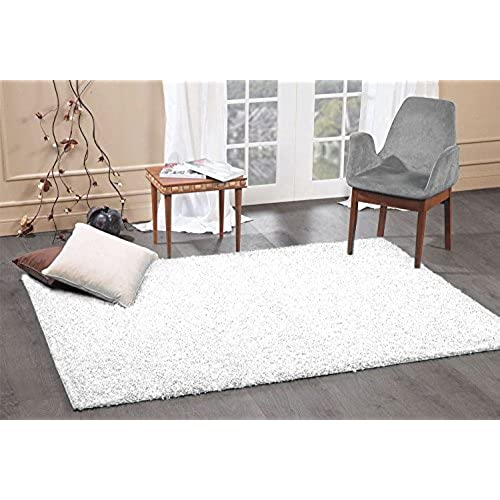 Perfect A2Z Rug Cozy Shaggy Collection 4x6 Feet Solid Area Rug   Snow White