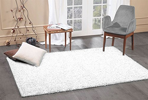 A2Z Rug Cozy Shaggy Collection 5x8-Feet Solid Area Rug - Snow White ()