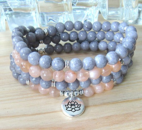 108 prayer beads with Moonstone and mashan jade, wrap bracelet or necklace, choose your favorite charm, made to order, Reiki Jewelry - Intuition & sucess