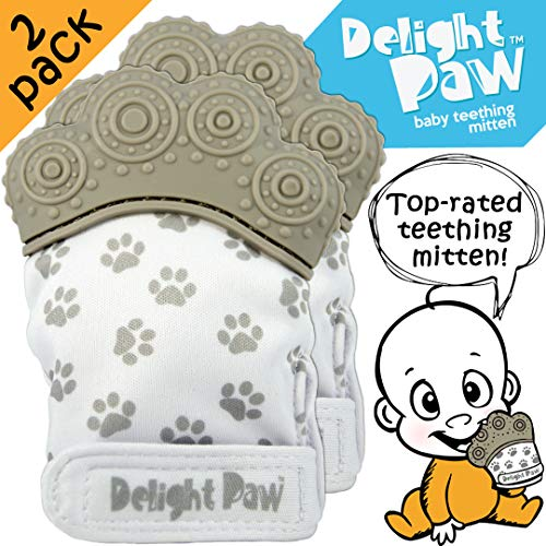 Delight Paw | Baby Teething Mitten 2 Pack | Mom Designed | Self Soothing Pain Relief | Hygienic Travel Bag | Mittens BPA Free | Like Munch Mitt | Baby Boy Baby Girl | Babies 3-12 Months | Gleeful Gray ()