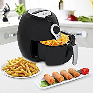 ZENY 1500W Air Fryer 3.7 Quart Large Capacity For Healthy Oil Free Cooking w/ Recipe Book Dishwasher Safe Parts