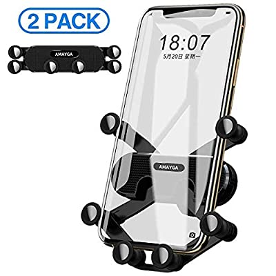 AMAYGA Air Vent Car Phone Holder (2 Pack) Universal Air Outlet Car Phone Bracket Phone Car Gravity Mount for iPhone 11 Pro Max Xs Max XR X 6S 7 8 Plus, Samsung Galaxy S9 S7 Edge S8 S10 S6 Smartphone