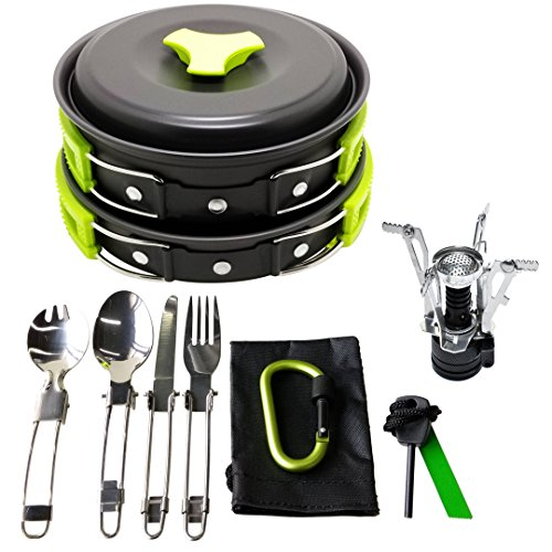 17Pcs Camping Cookware Mess Kit ...