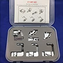 YEQIN 7 piece Bias HEMMER BINDER Foot Set For Singer Brother Toyota Pfaff Babylock and more Sewing Machine