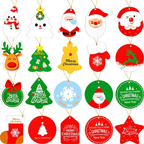 Boao 108 Pieces Christmas Gift Tags with Strings, 27 Assorted Designs Xmas Tags for DIY, Holiday Gift Bags, Present Wrap and Party Supplies