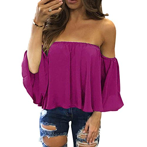 Aniywn Women Sexy Off Shoulder Half Sleeve Solid Chiffon Pullover Tops Casual T-Shirt Hot Pink