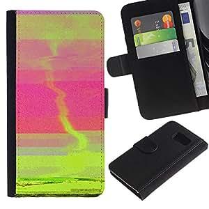 For Samsung Galaxy S6 SM-G920,S-type® Sunset Green Tornado Pink Sea Abstract - Dibujo PU billetera de cuero Funda Case Caso de la piel de la bolsa protectora