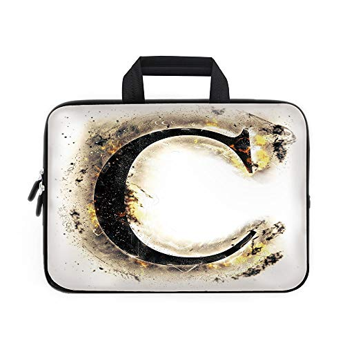 Letter C Laptop Carrying Bag Sleeve,Neoprene Sleeve Case/Letter C Flaming Backdrop Combusted Alphabet Symbol Paper Effect Writing/for Apple Macbook Air Samsung Google Acer HP DELL Lenovo AsusTan Black