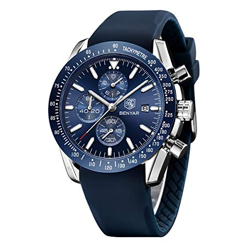 Prime Sale Day Mens Waterproof Chronograph Analog Watch-BENYAR Luxury Business Dress Silicon Strap Watch Perfect for Birthday Gift