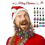 Grobro7 14 Pack Christmas Beard Ornaments 10 Bulbs and 4 Bells Colorful Facial Hair Ball Baubles Clips Christmas Santa Claus Beard Decoration for Men Easy Attach