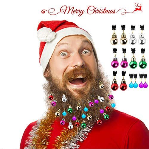 Grobro7 14 Pack Christmas Beard Ornaments 10 Bulbs and 4 Bells Colorful Facial Hair Ball Baubles Clips Christmas Santa Claus Beard Decoration for Men Easy Attach (Bell Silver Favors Charming)
