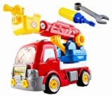 Fire Truck Toy Rescue HERO Take-A-Part DIY Extending Ladder Educational DIY Toy Vehicle Truck Includes Screwdriver, Wrench, Removable Cones