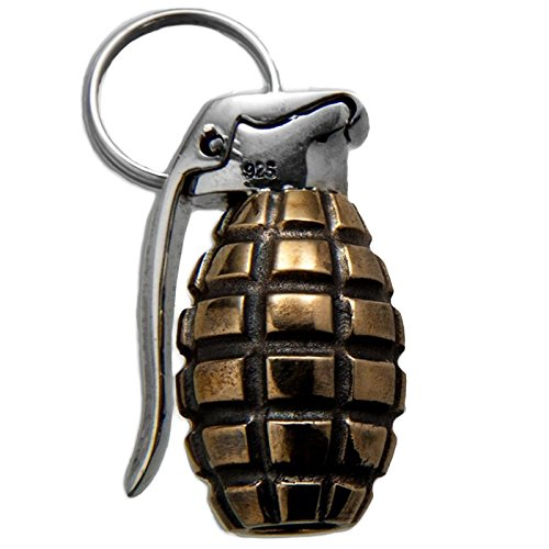 Hand Grenade Paracord / Lanyard Bead in .925 Sterling Silver & Bronze by GD Skulls by Jig Pro Shop