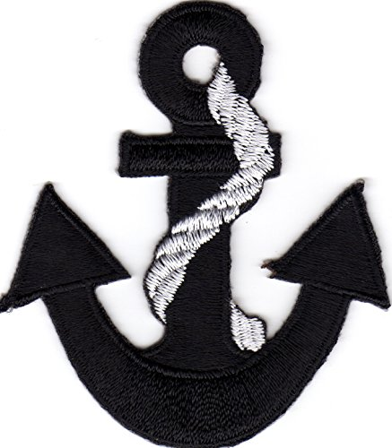 - Iron on Patch Embroidered Patches Application Anchor Black with White Rope Sailor Seafaring Sailing