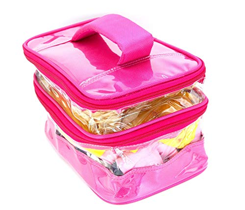 Magnas Double Decker Cosmetic Toiletry Travel Kit Bag   Jumbo Size  Pink