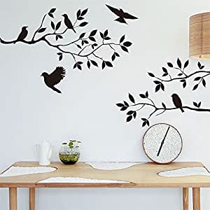 Annong Lot 26 Studio Burnish Birds & Blossoms Vinyl Wall Decal Bedroom Background Decoration, 16 x 24-Inches