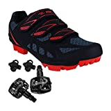 Zol Predator MTB Mountain Bike & Indoor Cycling Shoes with Pedals and Cleats 39