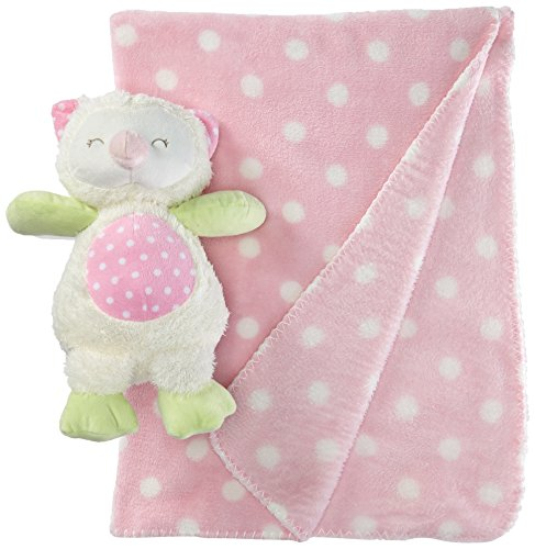 (Stephan Baby Sleepy Owl Polka Dot Plush Blanket and 9-inch Plush Owl Gift Set, Pink and White )