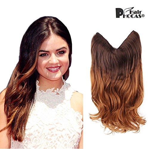 "HairPhocas 20"" Brown to Caramel Blond Ombre Color Secret Hair Extensions Synthetic Curly Wave Hairpieces"