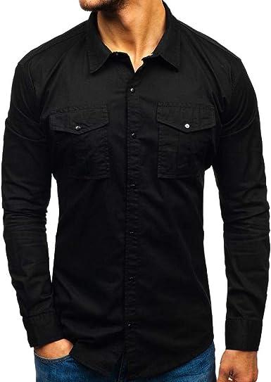 ZHEG Camisa De Algodón De Hombre Multibolsillos Manga Larga Ropa De Trabajo Top: Amazon.es: Ropa y accesorios