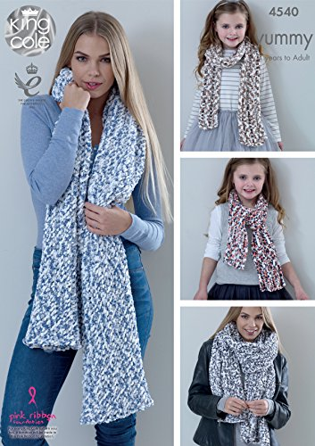 King Cole Knitting Pattern Ladies Lace or Mesh Shawls & Girls Scarves Yummy Chunky (4540) by King Cole