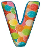 iscream Lettermania V Initial 16'' Gumdrop Print Fleece Back Microbead Pillow