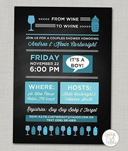 Couples baby shower Set of 10 Wine baby shower Coed shower Chalkboard baby shower invitation