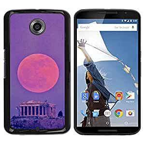 iKiki Tech / Estuche rígido - Moon Ancient Greece Rome Temple - Motorola NEXUS 6 / X / Moto X Pro
