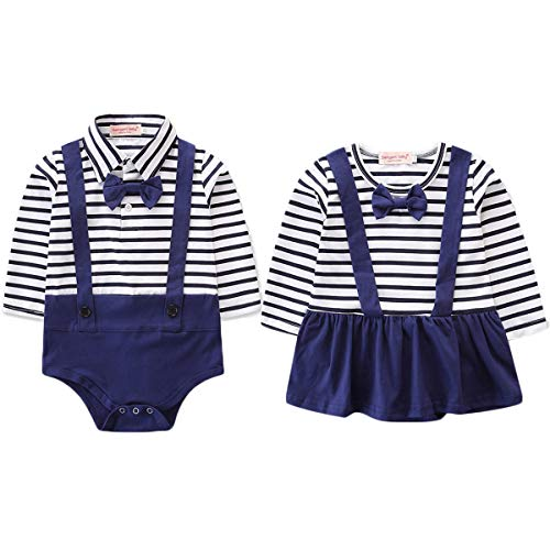 Big Brother Sister Twins Matching Outfit Gentleman&Lady Stripe Suspender Romper Bodysuit (Baby Girl, - Brothers Twins