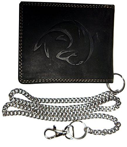 Hochwertige Geldbörse Geldbeutel Portemonnaie Wasserbüffel Leder Delfin geprägt mit Kette