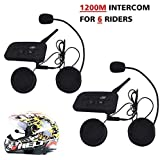 Motorcycle Helmet Bluetooth Intercom Headset,V6 BT 1200M Range 6 Riders Wireless Interphone Speakers IP65 Waterproof Communication Systems Kit for Motorbike Skiing Cycling Climbing,2 Pack