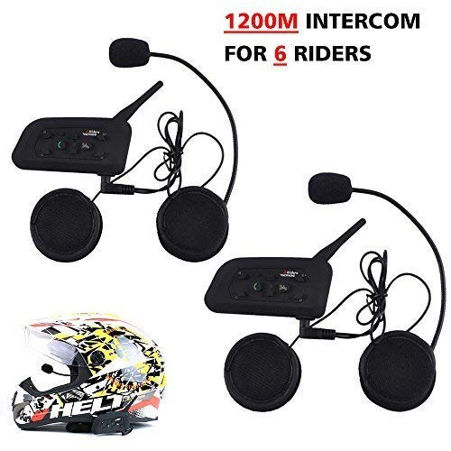 Motorcycle Helmet Bluetooth Intercom Headset,V6 BT 1200M Range 6 Riders Wireless Interphone Speakers IP65 Waterproof Communication Systems Kit for Motorbike Skiing Cycling Climbing,2 - Helmet Intercom